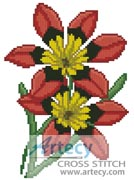 Red Flowers - Cross Stitch Chart - Click Image to Close