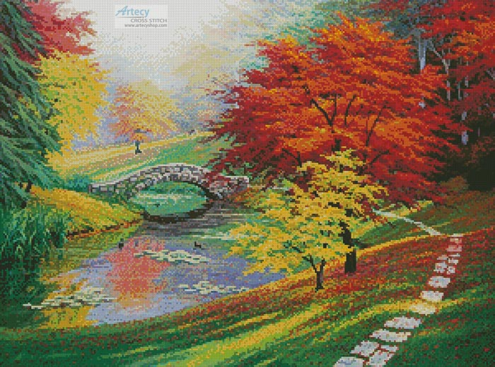 Red Trees in Autumn - Cross Stitch Chart - Click Image to Close