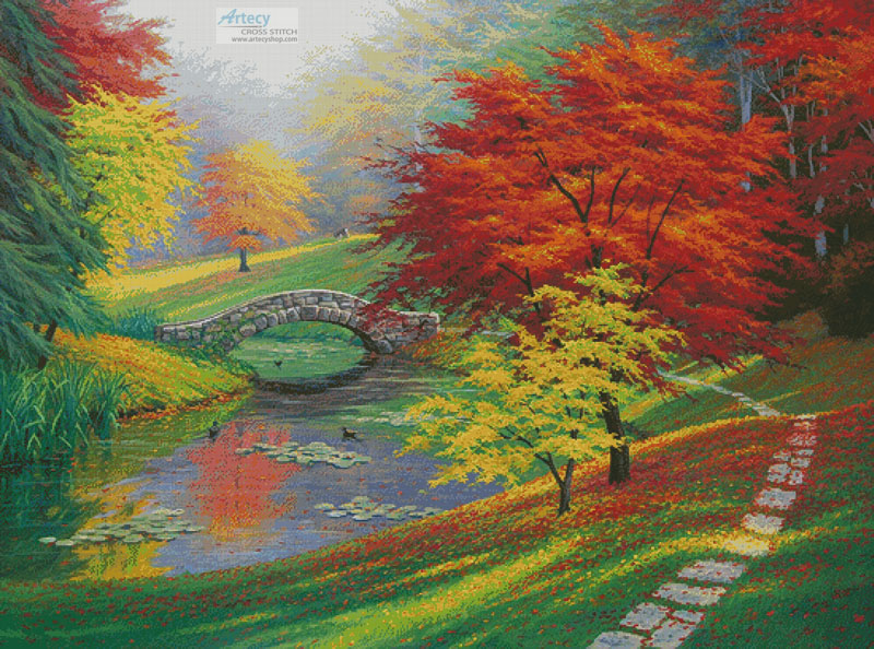 Red Trees in Autumn (Large) - Cross Stitch Chart - Click Image to Close