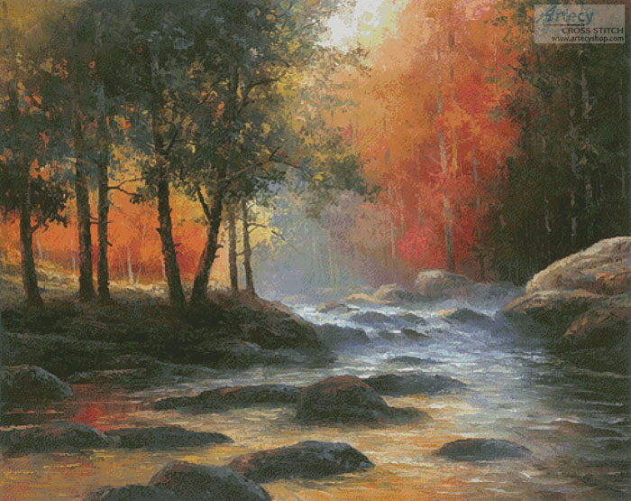 Rocks and Stream (Large) - Cross Stitch Chart - Click Image to Close
