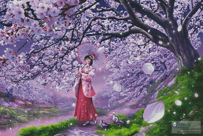 Sakura Kaze - Cross Stitch Chart - Click Image to Close