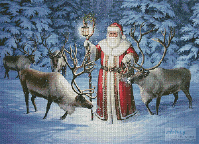 Santa With Reindeer - Cross Stitch Chart - Click Image to Close