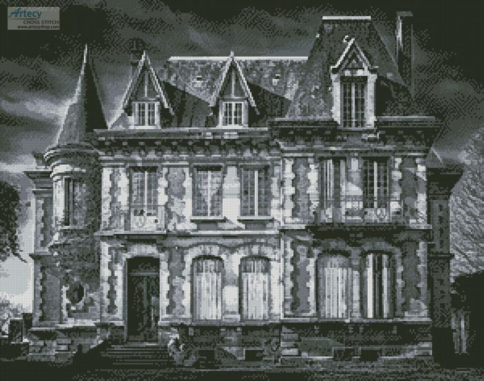 Spooky House (Black and White) - Cross Stitch Chart - Click Image to Close