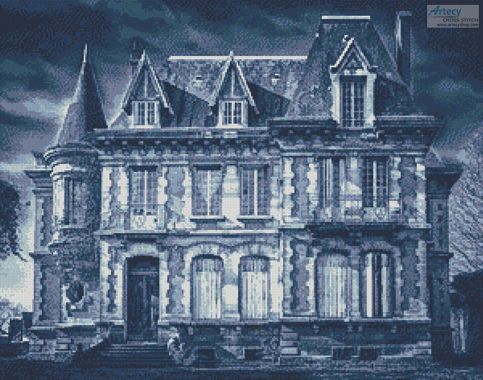 Spooky House (Blue 2) - Cross Stitch Chart - Click Image to Close