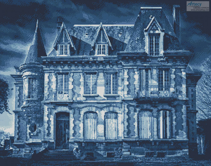Spooky House (Blue) - Cross Stitch Chart - Click Image to Close