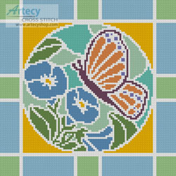 Stained Glass Square 5 - Cross Stitch Chart - Click Image to Close