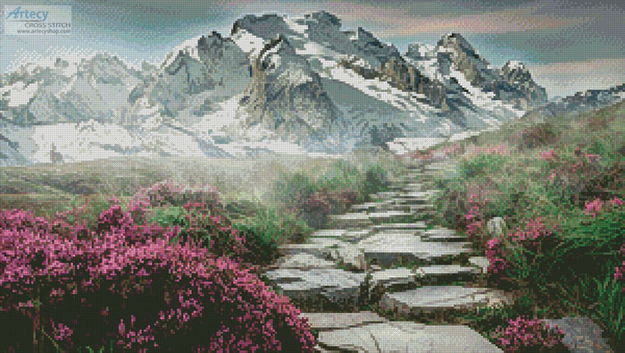 Stairway to the Mountains - Cross Stitch Chart - Click Image to Close