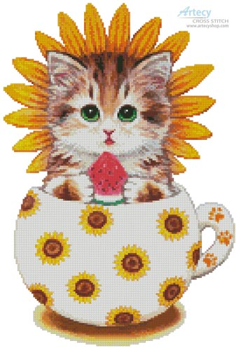 Sunflower Kitty Cup - Cross Stitch Chart - Click Image to Close