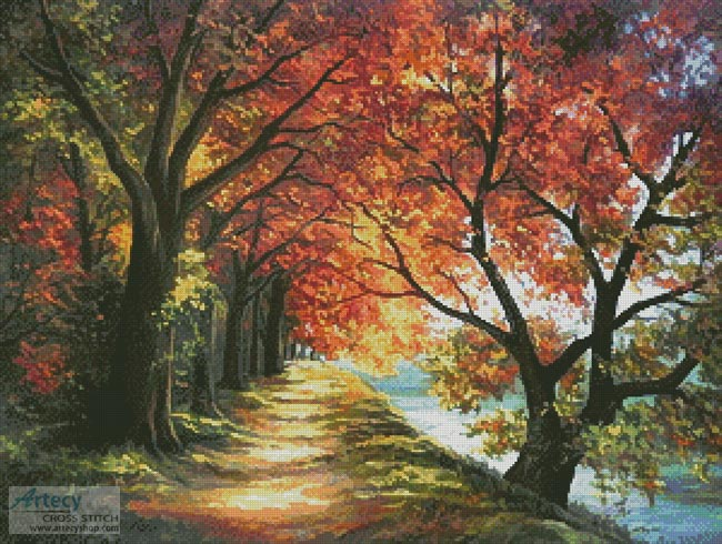 Sunny Autumn Path - Cross Stitch Chart - Click Image to Close