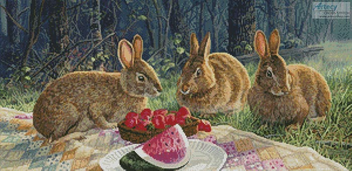 Sunny Bunnies - Cross Stitch Chart - Click Image to Close