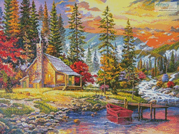 Sunset on the Lake - (Facebook Group) Cross Stitch Chart - Click Image to Close