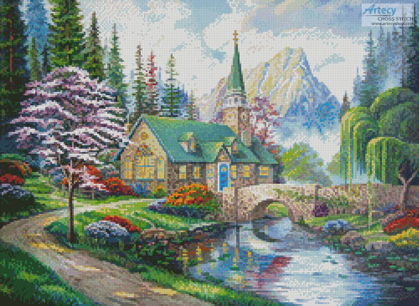 The Church in the Forest - Cross Stitch Chart - Click Image to Close