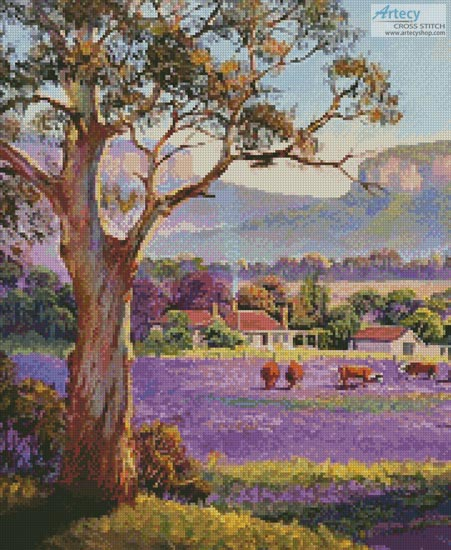 The Purple Paddock (Crop) - Cross Stitch Chart - Click Image to Close