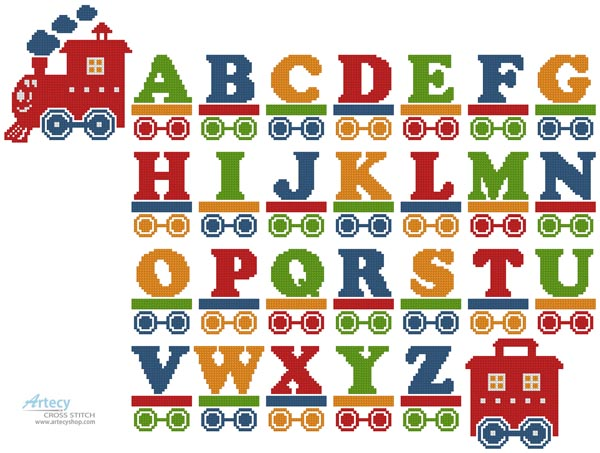 Train Alphabet - Cross Stitch Chart - Click Image to Close