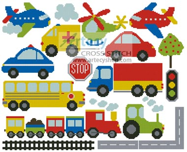 Transport Motifs - Cross Stitch Chart - Click Image to Close