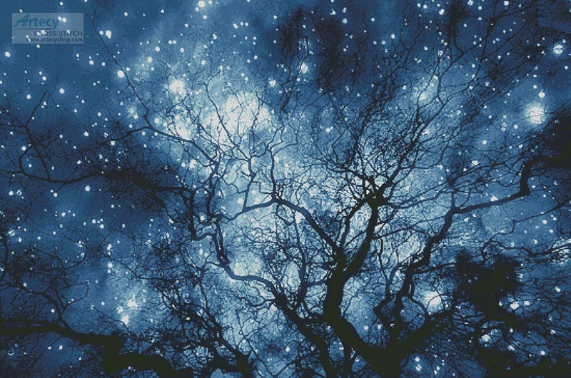 Tree Silhouette against Starry Night (Large)- Cross Stitch Chart - Click Image to Close
