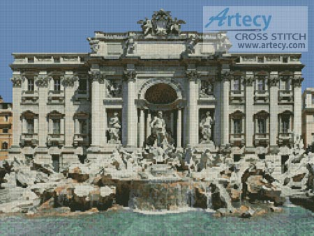 Trevi Fountain Photo - Cross Stitch Chart - Click Image to Close