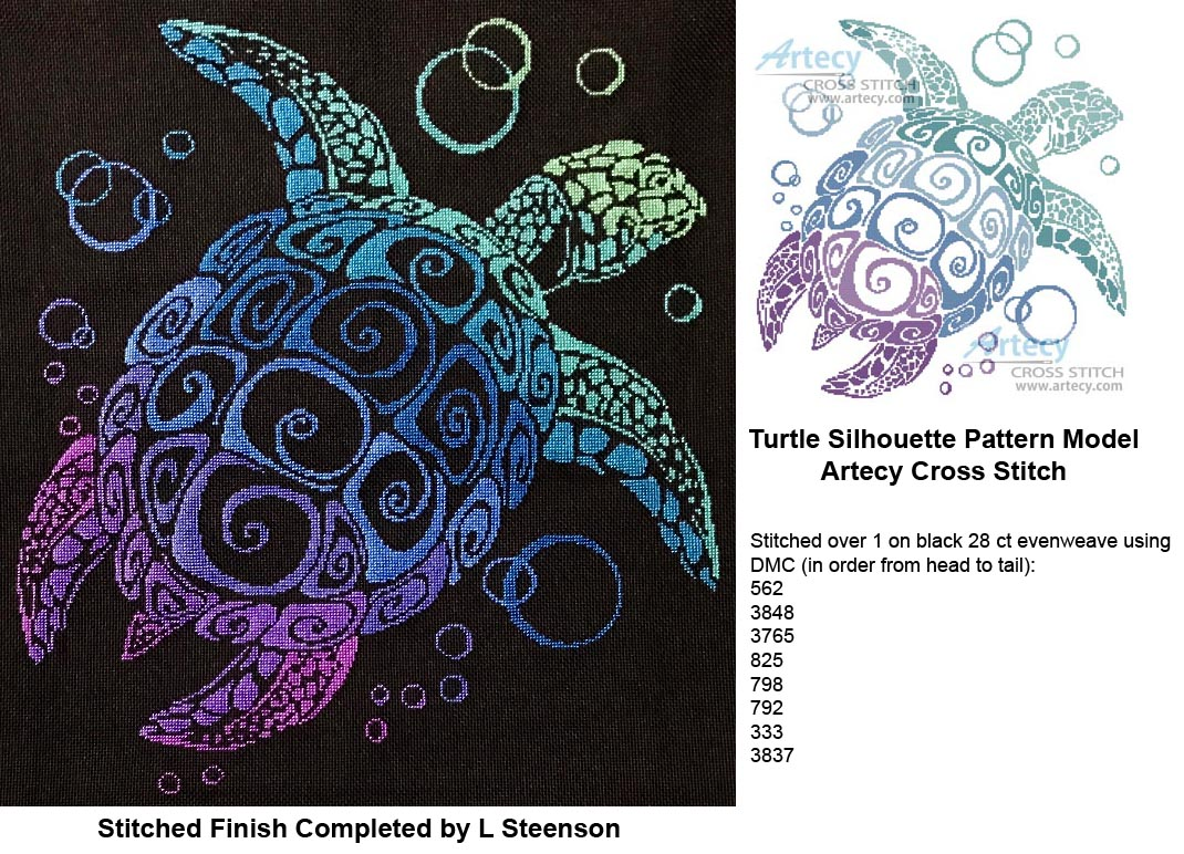 Turtle Silhouette Counted Cross Stitch Pattern To Print