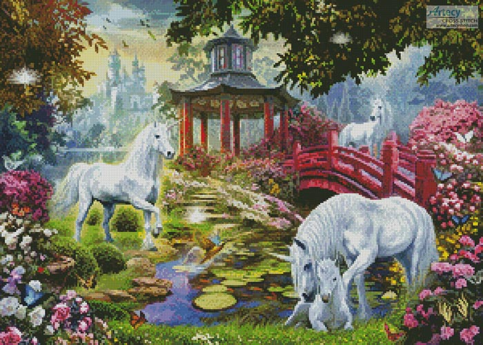 Unicorn Summer House - Cross Stitch Chart - Click Image to Close