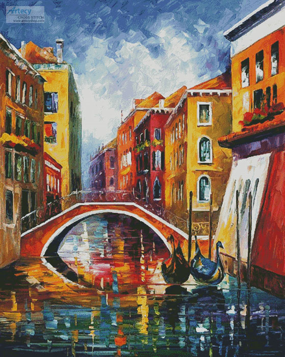 Venice Bridge (Large) - Cross Stitch Chart - Click Image to Close
