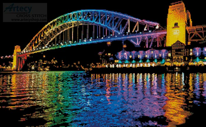 Vivid Sydney Harbour Bridge - Cross Stitch Chart - Click Image to Close