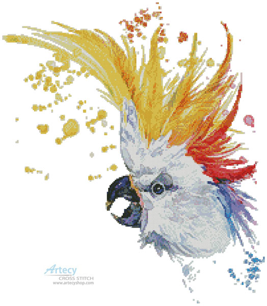 Watercolour Cockatoo - Cross Stitch Chart - Click Image to Close