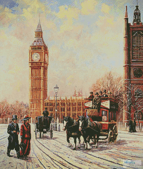 Westminster and Big Ben - Cross Stitch Chart - Click Image to Close