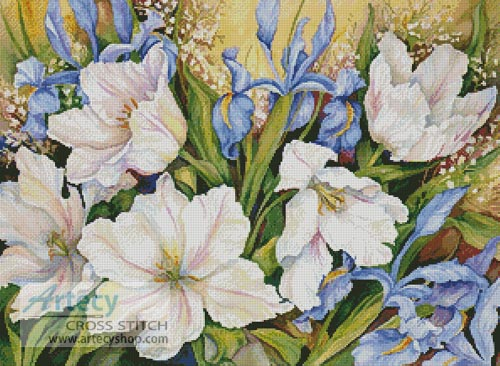White Tulips and Blue Iris - Cross Stitch Chart - Click Image to Close