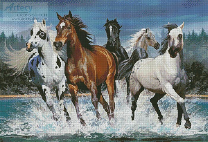 Wild Horses - Cross Stitch Chart - Click Image to Close