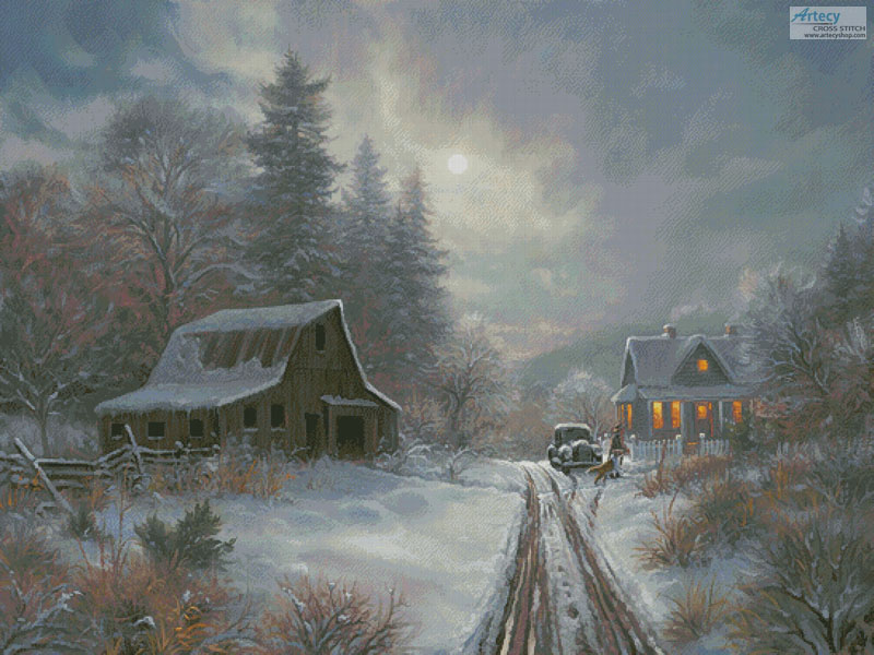 Winter Homeplace (Large) - Cross Stitch Chart - Click Image to Close