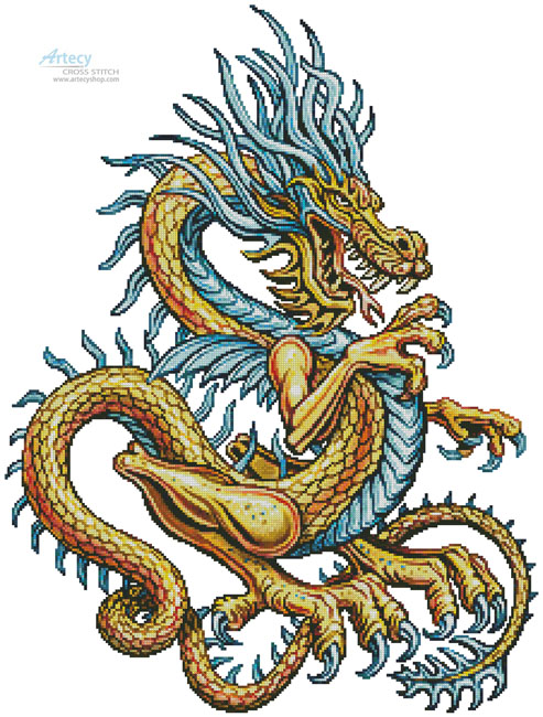 Yellow Dragon - Cross Stitch Chart - Click Image to Close