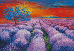 Lavender Field at Sunset - Cross Stitch Chart