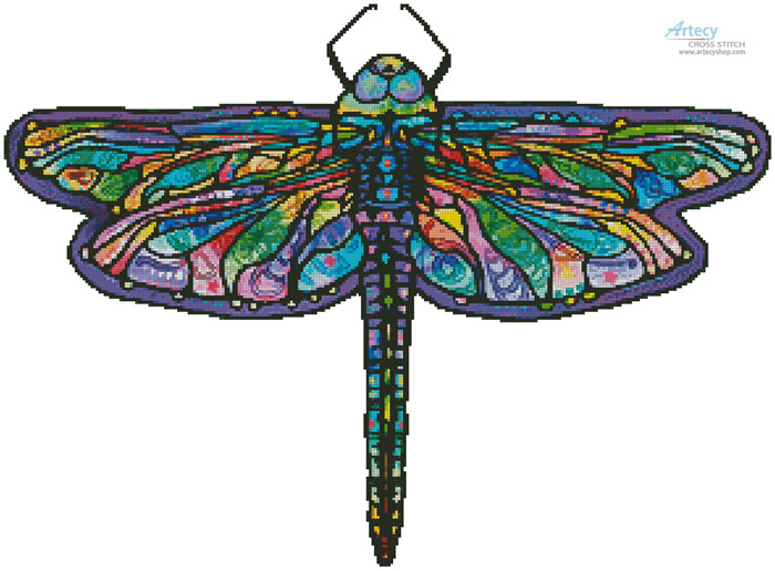 Abstract Dragonfly (No Background) - Cross Stitch Chart