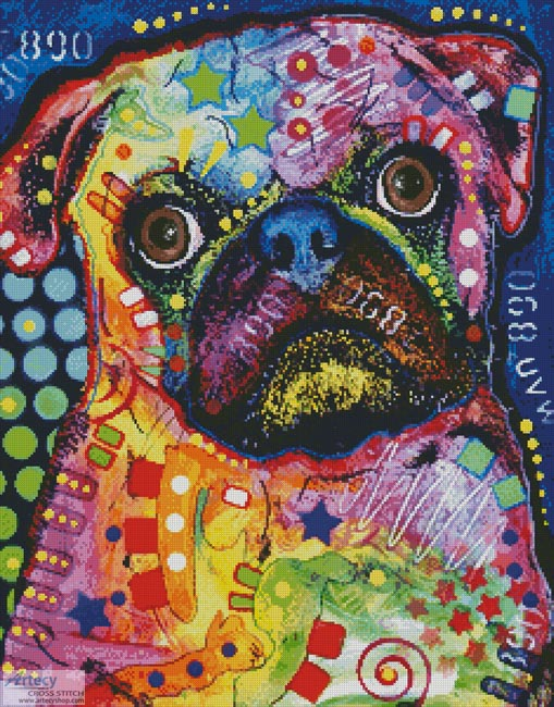Abstract Pug - Cross Stitch Chart