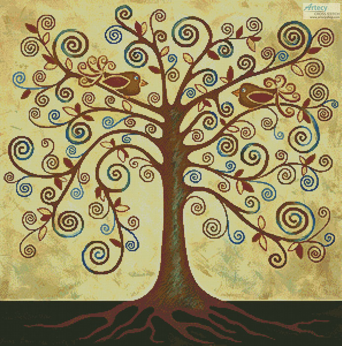 Abstract Tree of Life - Cross Stitch Chart
