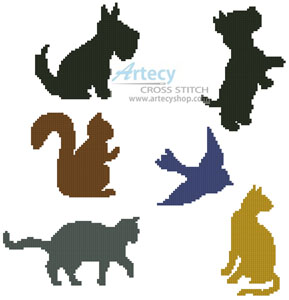 Animal Silhouettes - Cross Stitch Chart