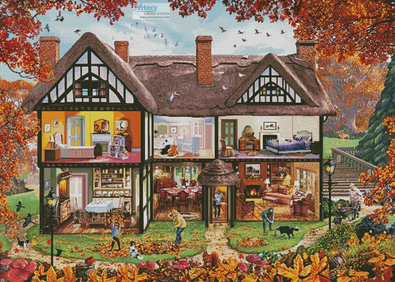 Autumn House (Large) - Cross Stitch Chart