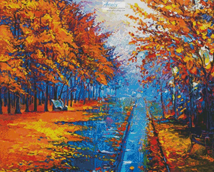 Autumn Landscape Painting - Cross Stitch Chart