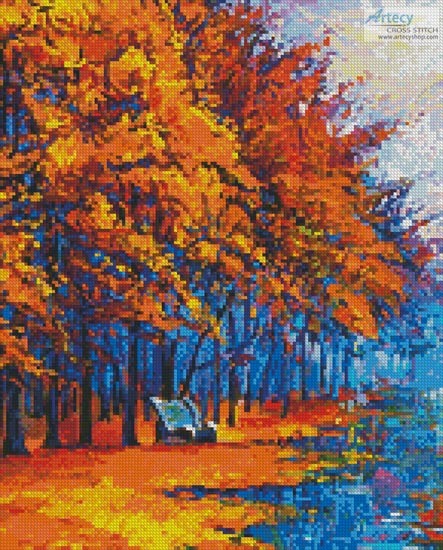 Autumn Landscape Painting (Crop) - Cross Stitch Chart