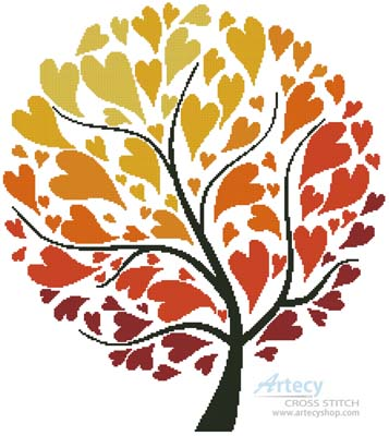 Autumn Tree of Hearts - Cross Stitch Chart