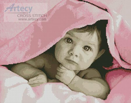 Baby Face (Pink) - Cross Stitch Chart