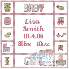 Baby Girl Sampler - Cross Stitch Chart
