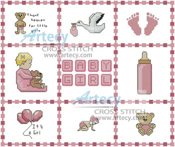 Baby Girl Sampler Small - Cross Stitch Chart