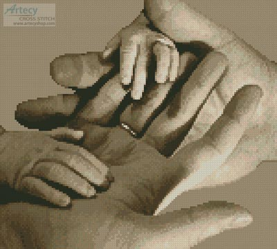 Baby Hands (Sepia) - Cross Stitch Chart