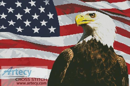 Bald Eagle and USA Flag - Cross Stitch Chart