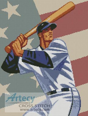 Baseball 3 - Cross Stitch Chart