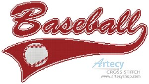 Baseball Sign - Cross Stitch Chart