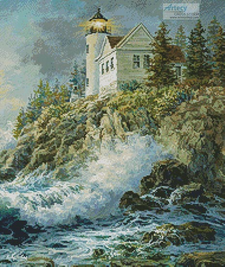 Bass Harbor Lighthouse (Crop) - Cross Stitch Chart