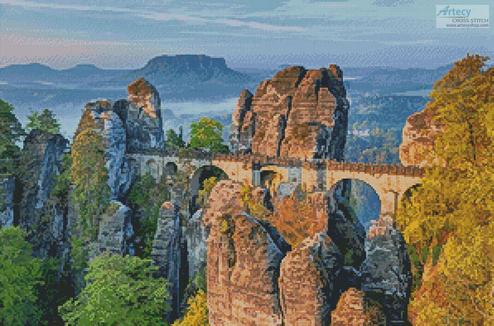 Bastei Bridge, Germany - Cross Stitch Chart