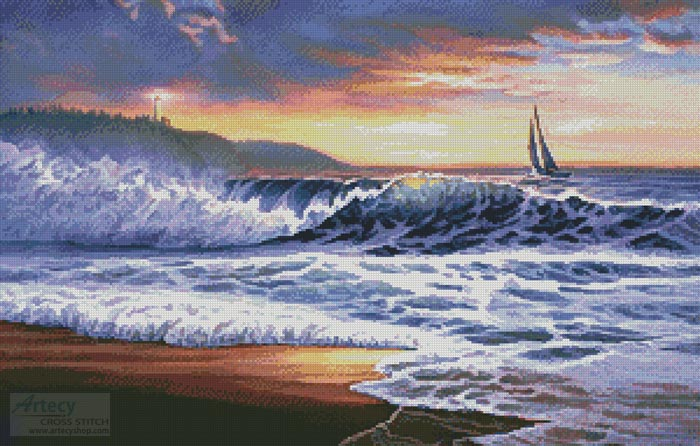 Beach Sunset Lighthouse - Cross Stitch Chart